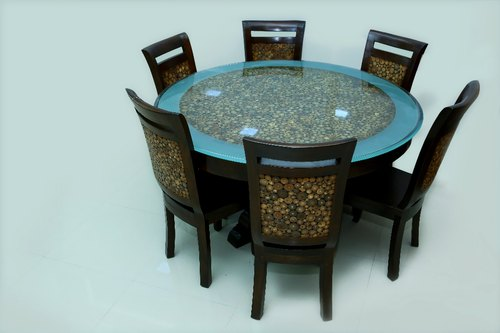 Modern Glass Table Top Round Dining Table Set Rs 12500 Set Red Chair Home Decor Id 20227450397