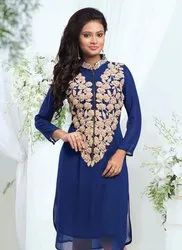 Ladies Blue Embroidered Kurtis