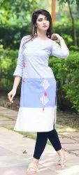 Cotton Printed Embroidery Work Casual Kurta