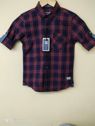 Party Wear Full Sleeves Kids Cotton Check Shirt