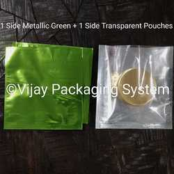 Metallic Green Polyester Laminated Pouches