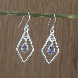 Indian Amethyst Gemstone 925 Sterling Silver Women Earring