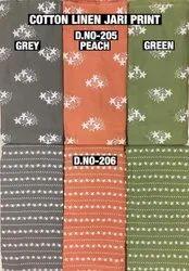 Cotton Linen Jari Print Fabric
