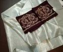 Pure Solid Tissue Saree With Handwork Blouse