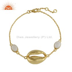 Cowrie Design Gold Plated Silver Mother of Pearl Bracelet