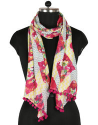 Silk Cotton Lightweight Printed Warps Shawl Women Scarves