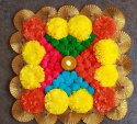 Colorful Artificial Marigold Floral T-Light Mat