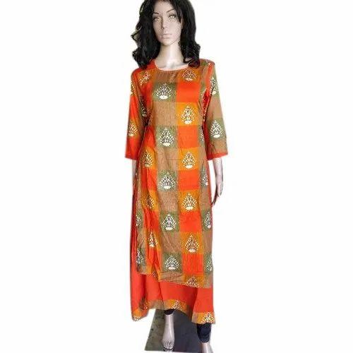 ec9a50183ba95 Rayon Large Ladies Double Layer Indo Western Kurti