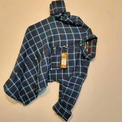 Casual Wear Collar Neck Mens Full Sleeves Cotton Check Shirt, Machine Wash, Hand Wash