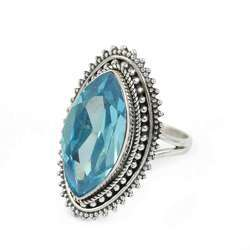 Rava Work 925 Sterling Silver Blue Topaz Ring