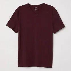 Cotton Plain Mens V Neck T-Shirt, Size: S-XL