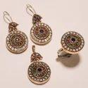 Copper Round Turkish Ring Pendant Set