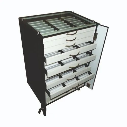 The Monarch Enterprises Wenge Portable Eyegl Sungles Storage Display Cabinet Drawer Trolley