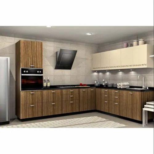 Sleek World L Shape Modern PVC Modular Kitchen, Kitchen ...
