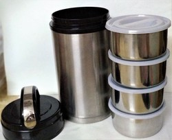 Silver Stainless Steel Insulated Lunch Box, For Office