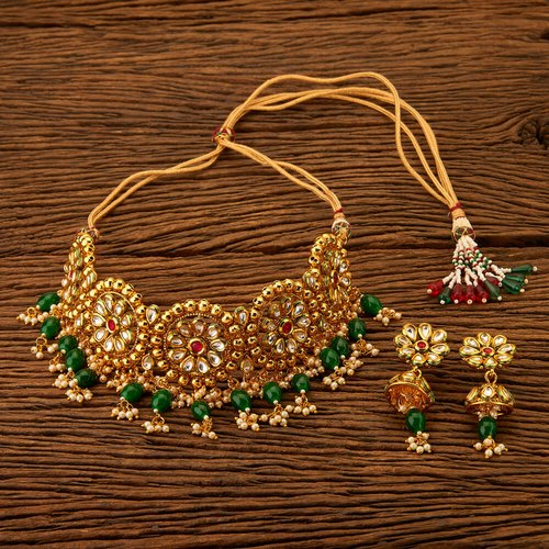 Antique Mukut Necklace Set with Gold Plating 200507