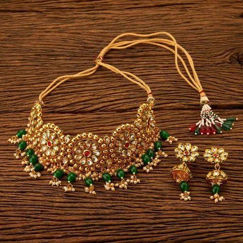 Antique Necklace Set - Antique Mukut Necklace Set with Gold