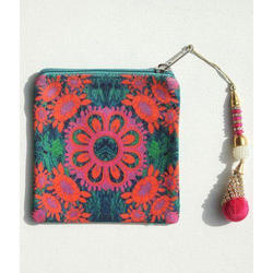 various colours//designs Tiny Feet Hand Painted Shanti Leather Zip Coin Purse