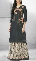 Ladies 3/4th Sleeve Stitched Fancy Kurti, Size: S, M and L