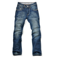 Faded Blue Mens Regular Fit Denim Jeans
