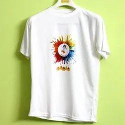Half Sleeve Round Ladies Cotton Holi T Shirt