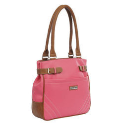 Pink Plain Ladies Rexine Totes Handbag