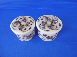 Rounded Marble Inlay Floral Design Box
