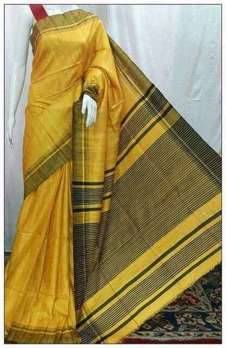 Yellow Colored Saree with Madhubani Designs on Ghicha Tassar