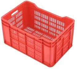 Rectangular Mesh Red Plastic Crates, For Industrial, Capacity: 48 Ltrs