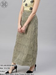 Stripe Printed Straight Skirt