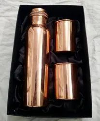 Copper Water Bottle With Glass Gift Set