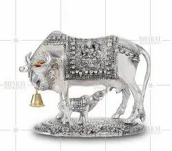 Silver Plated Kamdhenu Cow Statue