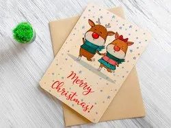 Multicolor Rectangular Printed Wooden Greeting Cards