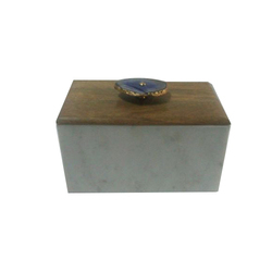 White Marble & Wood Boxes with Agate Knob, Shape: Rectangular