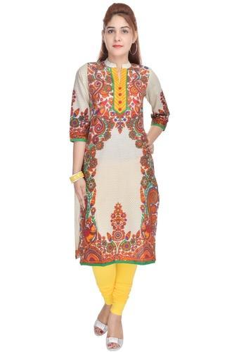 Multicolor Cotton/Linen Ethnic Ladies Casual Kurti, Age Group: Adults, 340