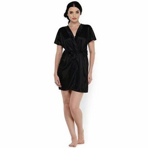 6491591b5f Ladies Satin Black Night Gown