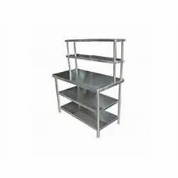 SS Table With Two Over Head Shelf
