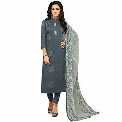 Rajnandini Grey Chanderi Silk Printed Semi-Stitched Dress Material With Printed Dupatta