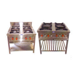 Stainless Steel Four Burner (Continental), 4 Burners, Size: 750 X 750 X 850+150