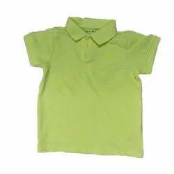 Cotton Casual Wear Kids Boy Green Collar T Shirt