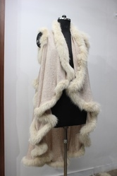 Plain Wool Cashmere Knitted With Allover Fox Fur Shrugs