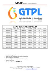 MME GTPL BROADBAND SERVICE, Usage Capacity: Unlimited