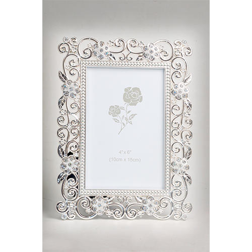 Melange Silver Plated Enamaled Photo Frame With Crystal, Silver ...