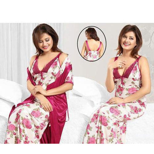 c893a00345 Ladies Pink And White Printed Satin Nightgown