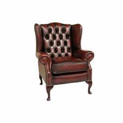 Pranshi Handicrafts Brown Leather Wooden Sofa