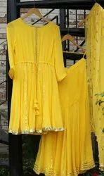 Pakistani Designer Heavy Georgette Sarara Style Suit