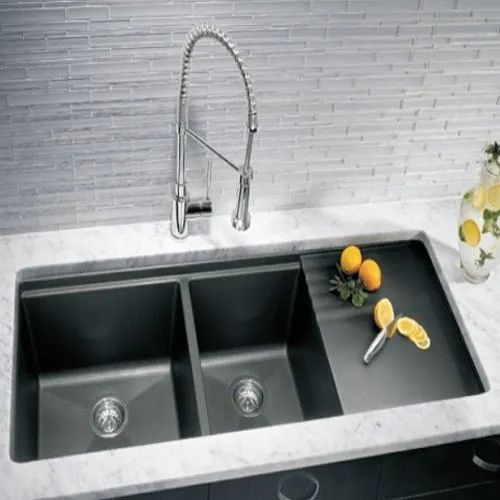 Double Kitchen Sink With Drainboard.Ru Hddsnb4520 Double Bowl With Drain Board Handmade Kitchen Sink