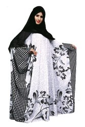 Floral Printed Casual Wear Islamic Abaya Burqa For Women With Chiffon Hijab