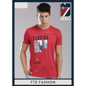 Fitziz Cotton Casual Red Colour Round Neck T-shirt