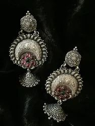 Women New Exclusive Design Silver Chandeliers Earrings, 25 To 40gm